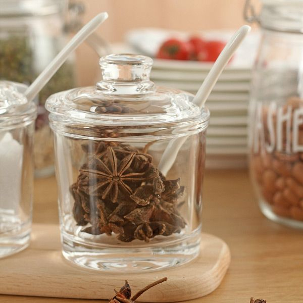 Healthy Accessories Glass Flat Cover Seasoning Cans