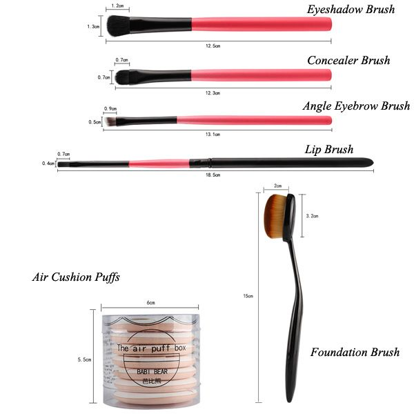 8 Pcs Makeup Brushes Set and BB Cream Air Cushion Puffs