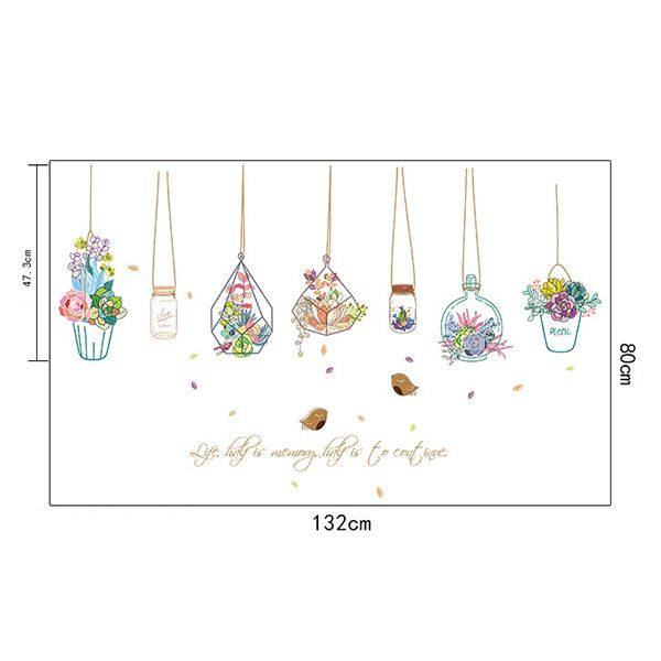 Hanging Basket Potted Flowers Waterproof Removable Wall Stickers