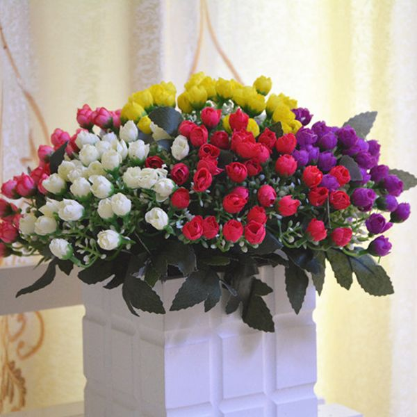 15 Heads Rose Bud Bouquet Home Decor Artificial Flower