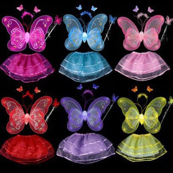 Halloween Supplies Butterfly Angel Dress Up 4PCS Kids Costume Set