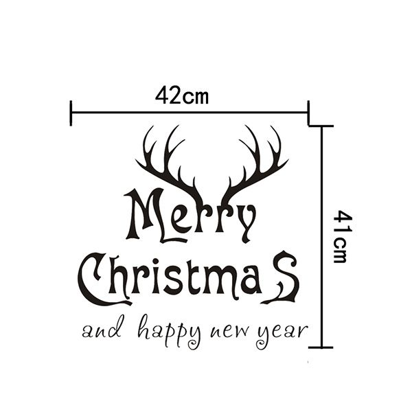 Merry Christmas Deer Head Removeable Wall Sticker