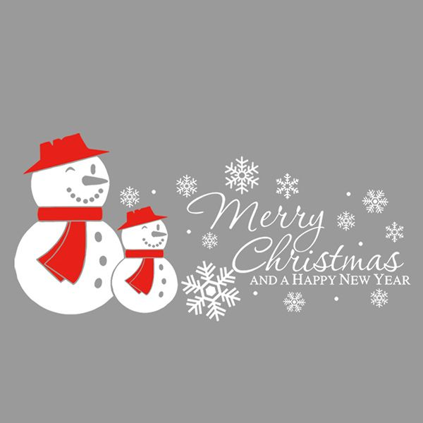 Merry Christmas Snow Man Removeable Wall Sticker