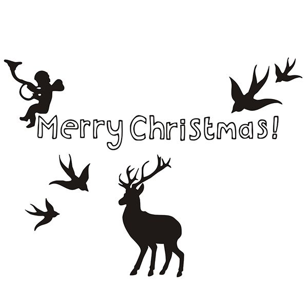 Merry Christmas Angel Deer Removeable Window Glass Wall Sticker