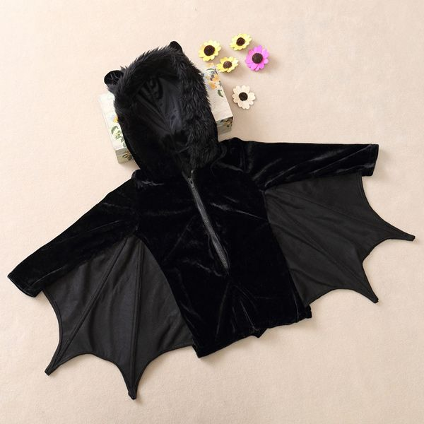 Kids Halloween Party Supply Cosplay Bat Zipper Jumpsuit Connect Wings Costume For Girls