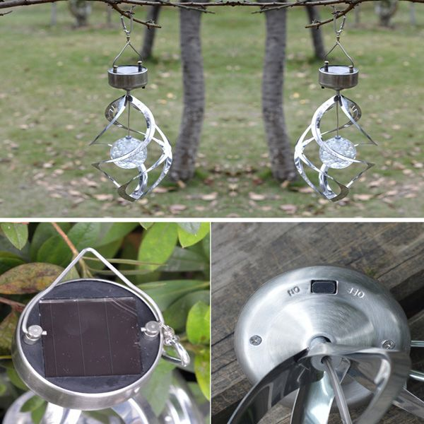 LED Solar Household Wind Turn Light Decorative Colorful Diamond Windbell Lamp