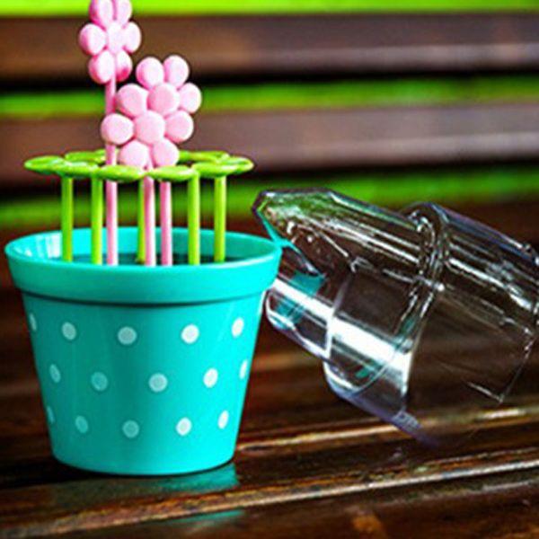 Green Biodegradable Random Candy Color Wave Point Potted Fruit Fork Set