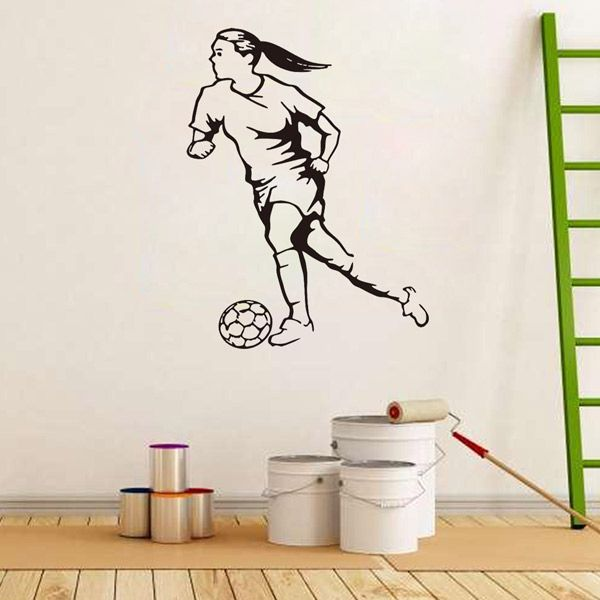 Female Football Player Removable Living Room Decor Wall Stickers