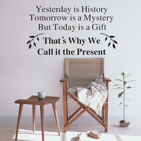 Home Decor Yesterday Is History Removable Proverb Wall Stickers