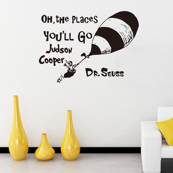 Creative Cartoon Proverb Removable Living Room Wall Stickers