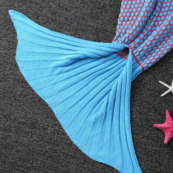 Thicken Knitted Sleeping Bag Kids Wrap Sofa Mermaid Blanket