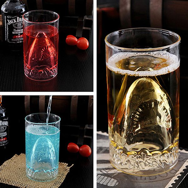 Transparent 350ml Shark Lucency Glass Water Beer Mug