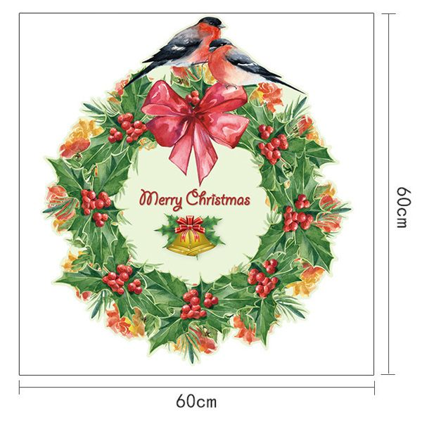 Christmas Wreath Removable Glass Window Wall Stickers