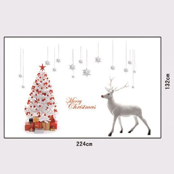 Christmas Elk and Tree Removable Glass Window Wall Stickers