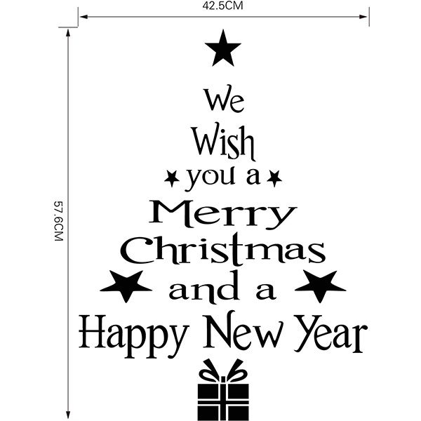 Christmas Wishes Tree Removable Glass Window Wall Stickers