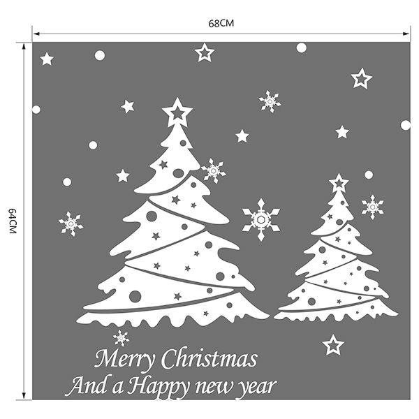 Snowflake Christmas Tree Removable Glass Window Wall Stickers