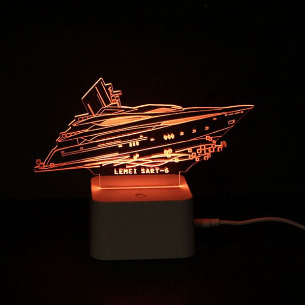 Colorful Remote Control 3D Visual Yacht Atmosphere LED Night Light