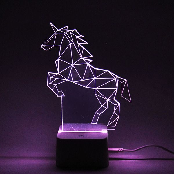 Colorful Remote Control 3D Visual Horse Atmosphere LED Night Light