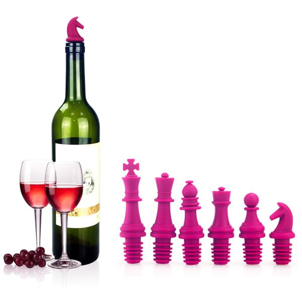 6PCS Silica Gel Chinese Chess Shape Wine Bottle Plugger