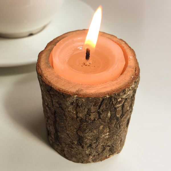 Brown creative original ecology woody candle holder for Alternative candle holders