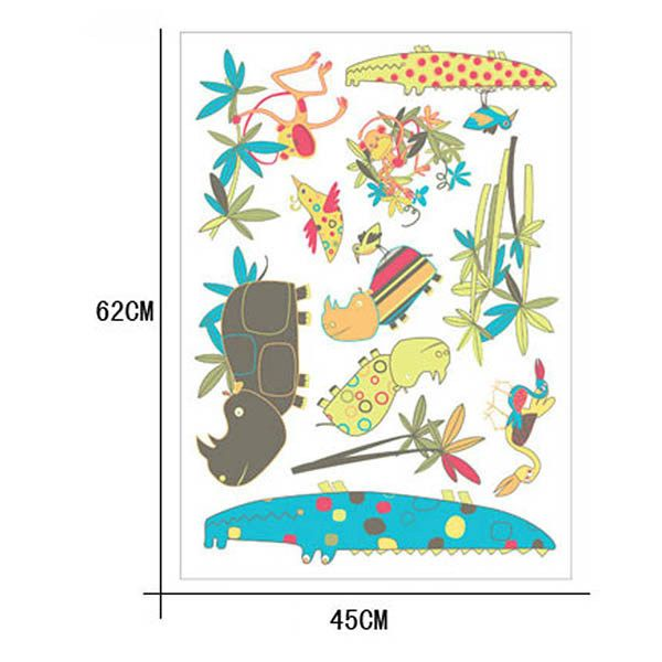 Cartoon Animals World Removeable Wall Sticker