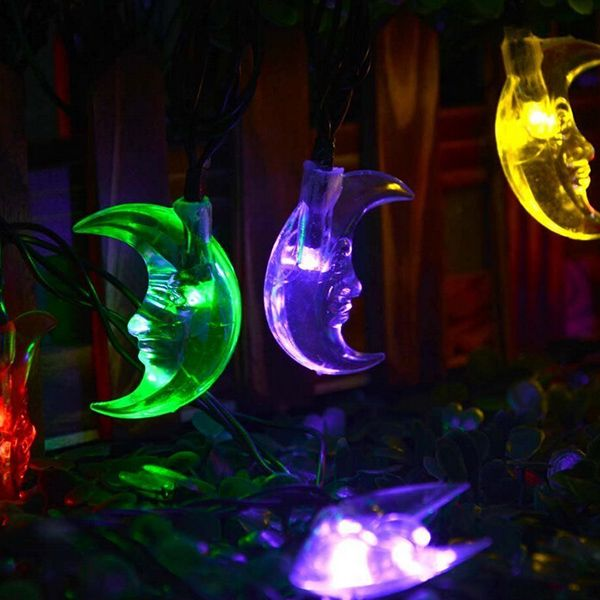 Christmas Decoration Supplies 4.8M Solar Power Moon LED String Light