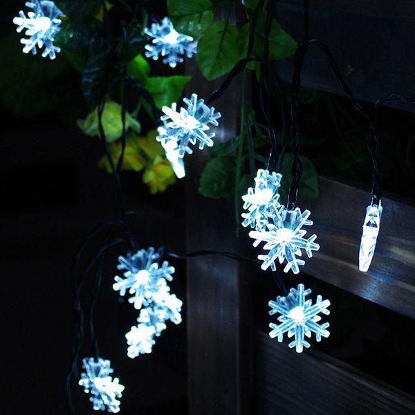 Christmas Snowflake 4.8M Solar Power LED String Light Decoration