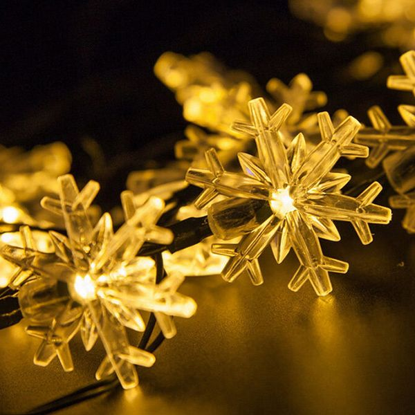 Christmas Snowflake 4.8M Solar Power LED String Light Decoration