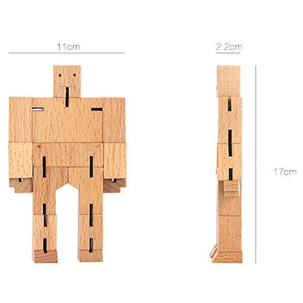 Creative Rubik's Cube Wooden 3D Handicraft Robot Model Toy