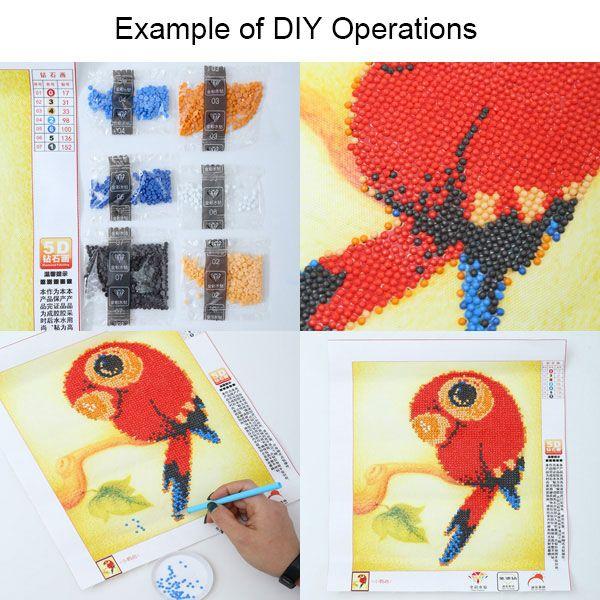 DIY Beads Painting Cartoon Parrot Animal Cross Stitch