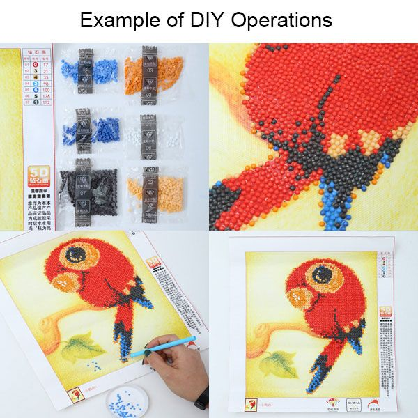 DIY Beads Painting Red Florals Cross Stitch
