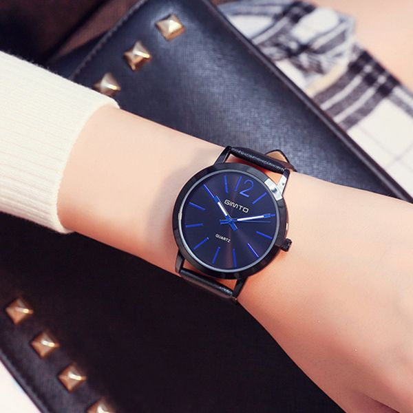 GIMTO Faux Leather Big Dial Quartz Watch