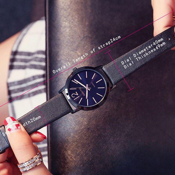 GIMTO Faux Leather Big Dial Quartz Watch