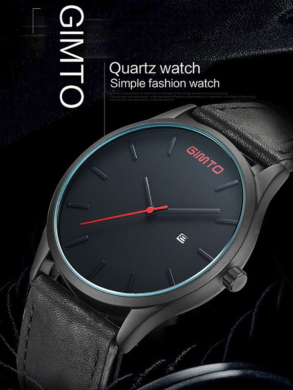 GIMTO Faux Leather Analog Date Watch