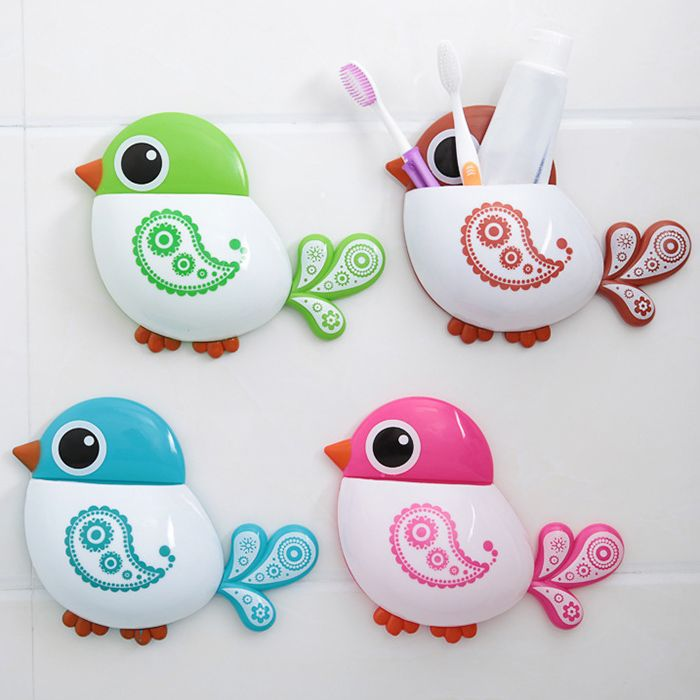 Cartoon Bird Wall Suction Toothbrush Holder