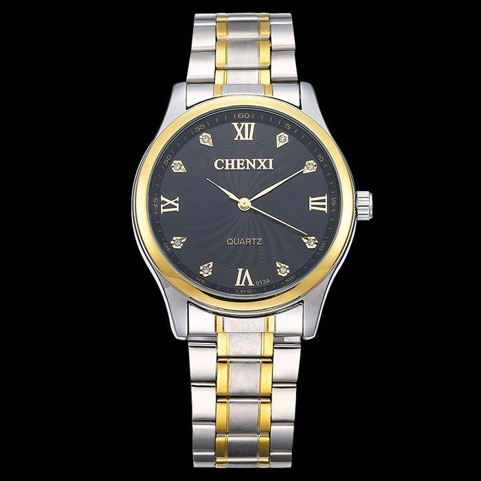 CHENXI Stainless Steel Rhinestone Analog Watch