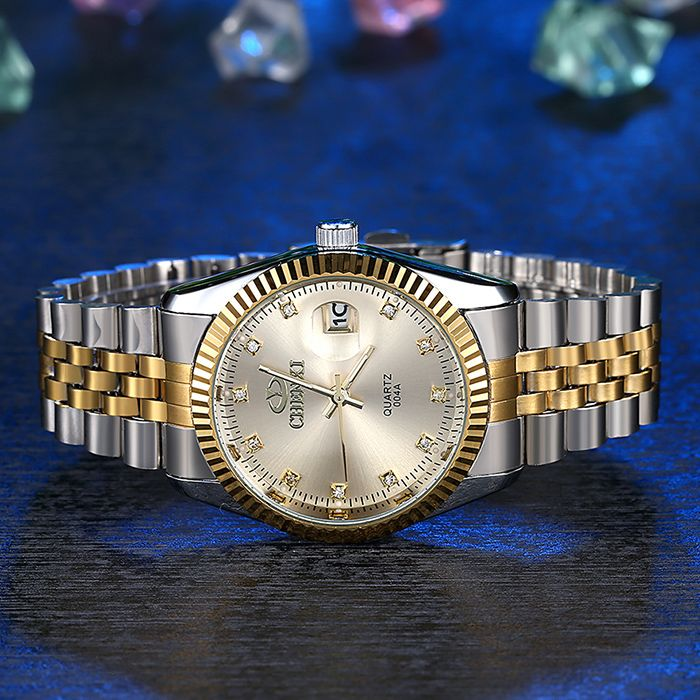 CHENXI Metallic Strap Rhinestone Date Watch