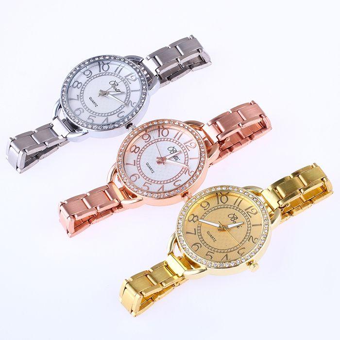 YBOTTI Alloy Band Number Quartz Watch
