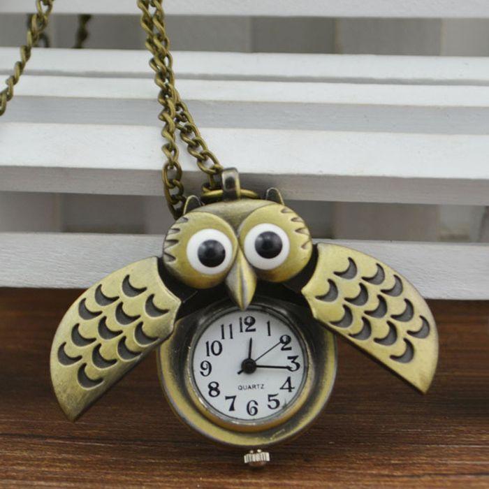 Owl Pendant Number Pocket Watch