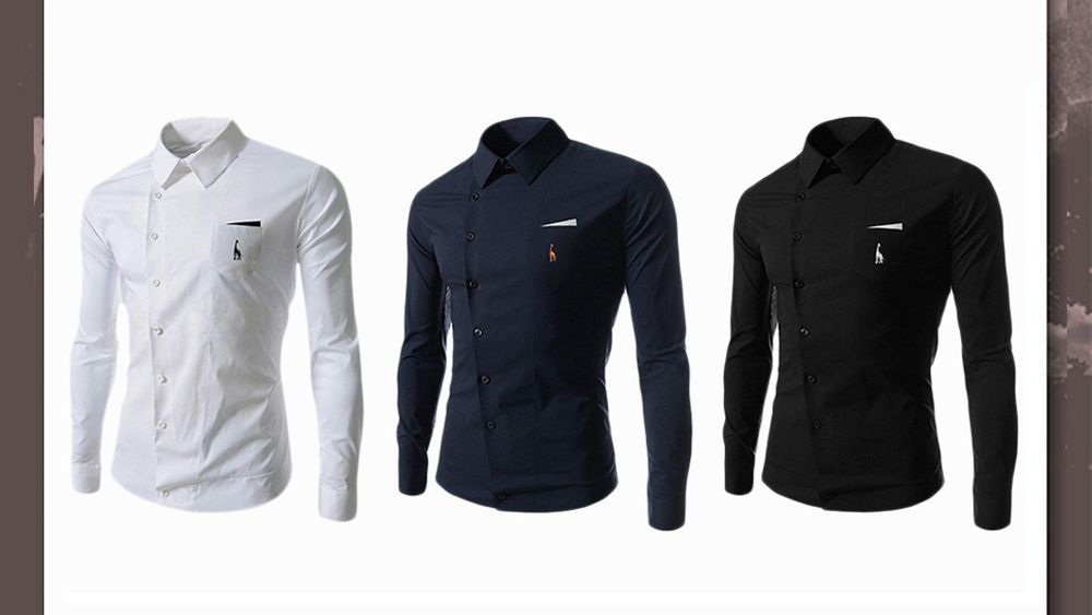 Novel Turn-down Collar Inclined Button Fly Slimming Deer Embroidery Long Sleeves Men's Shirt