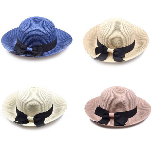 Flanging Bowknot Band Bowler Straw Hat