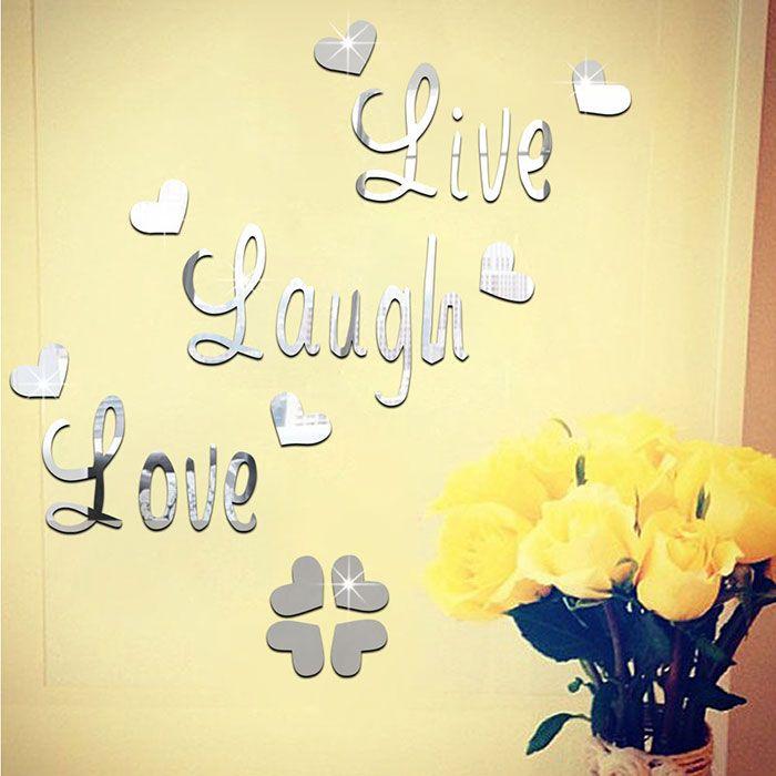 Silver Diy Acrylic Heart Art Decals Mirror Wall Sticker | RoseGal.com