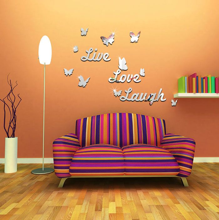 3D Butterfly Letter Acrylic Removable Mirror Wall Sticker