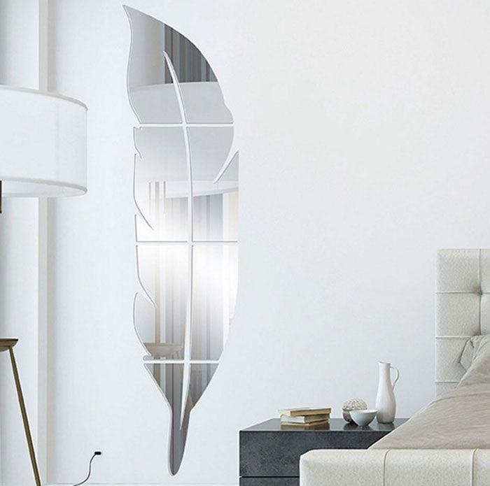 39 argent 39 18cm 73cm autocollant miroir mural en forme de for Miroir forme maison
