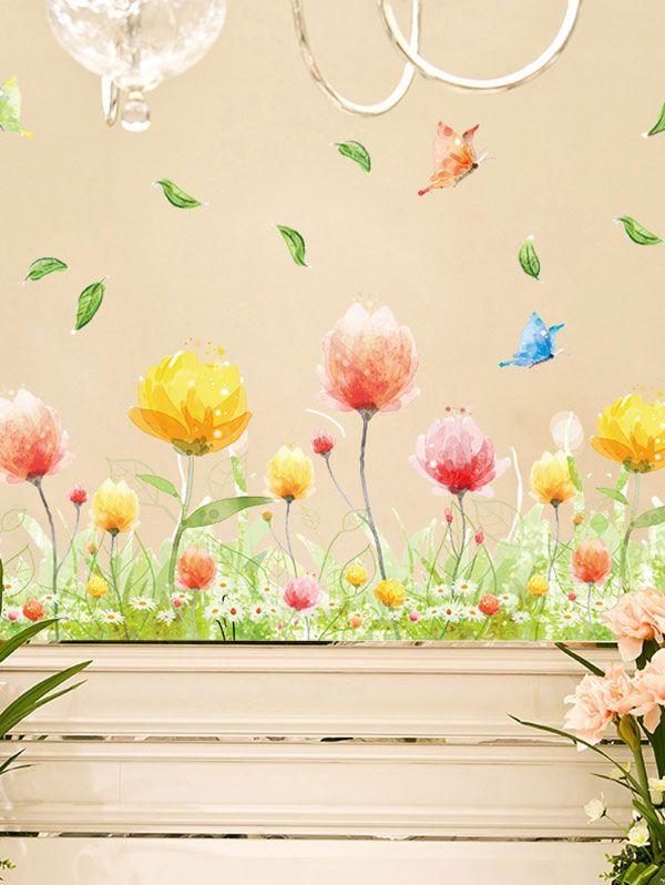 Colormix 50*70cm Fancy Butterfly Flower Print Vinyl Decorative Wall ...