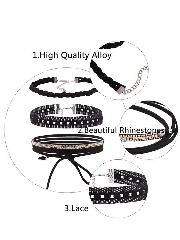 Faux Leather Velvet Rhinestone Choker Necklace Set
