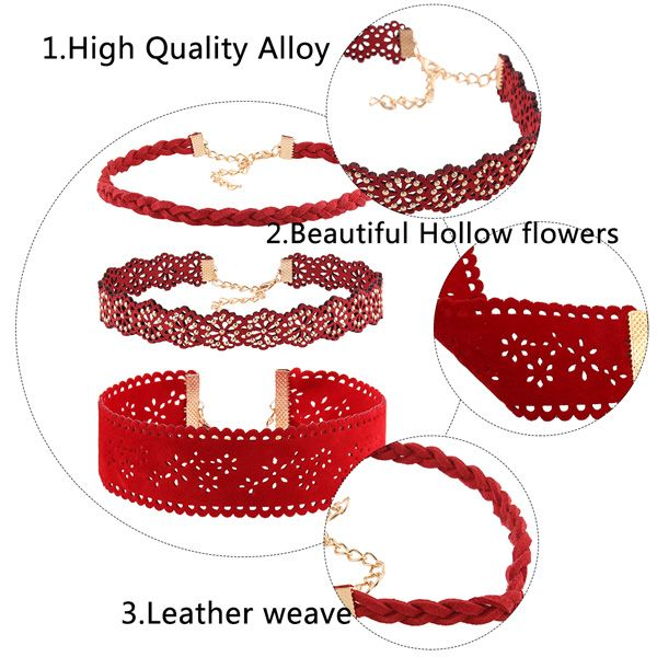 Hollow Out Floral Faux Leather Choker Set
