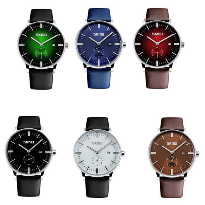 SKMEI Faux Leather Strap Quartz Date Watch