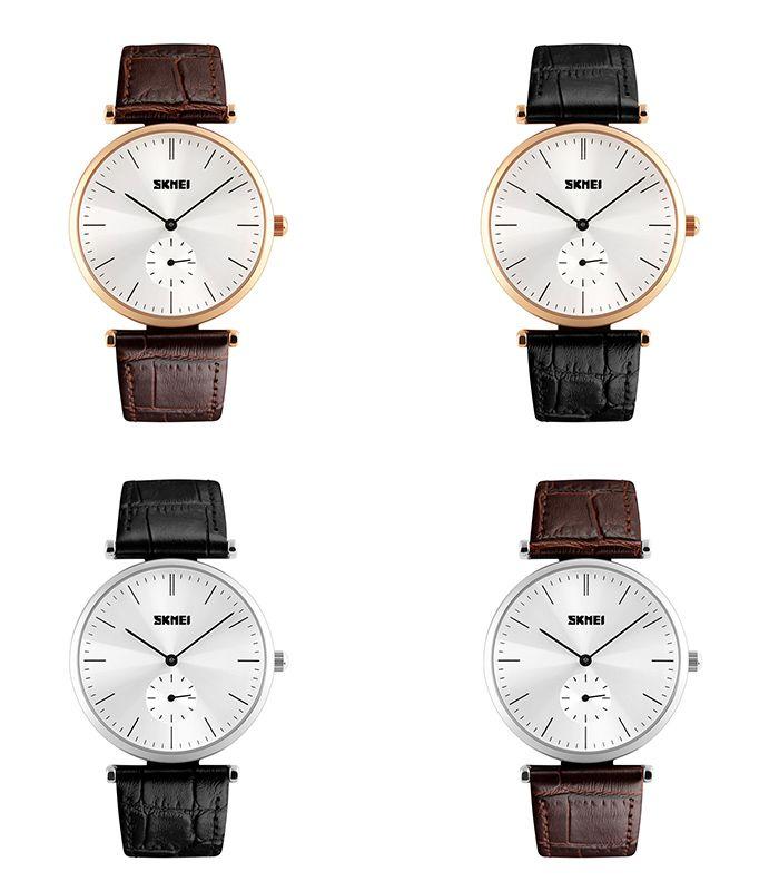 SKMEI Faux Leather Minimalist Quartz Watch