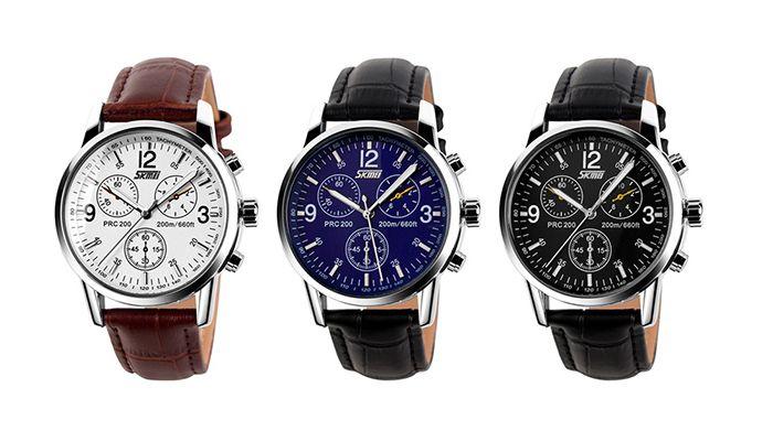 SKMEI Faux Leather Tachymeter Quartz Watch